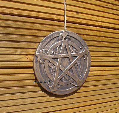 Pentagram Pagan / Wiccan Plaque Home Or Garden Wall Hanging Bronze- Gold Finish