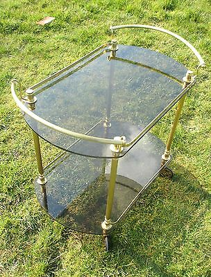 Bar Cocktail Entertainment Cart Trolley Smoked Glass Vintage Stunning