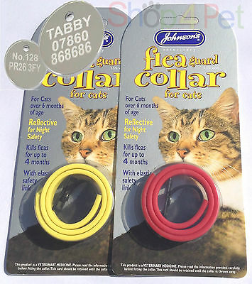 JOHNSONS REFLECTIVE PLASTIC FLEA COLLAR. with or without a 20mm ENGRAVED PET TAG