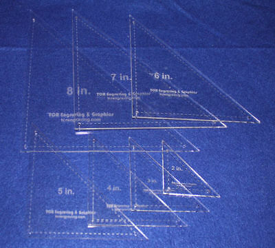 """7 Pc Triangle - 2""""-8""""  With Seam Clear Acrylic 1/8""""-Laser Cut Quilt Templates-"""