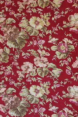 "French Antique 19thC Home Dec Cotton Floral Botanical Fabric~1yd9""LX31""W~"