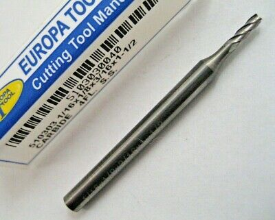 """1/16"""" (1.59mm) SOLID CARBIDE 4 FLUTED END MILL EUROPA TOOL 5103030040  #C4"""