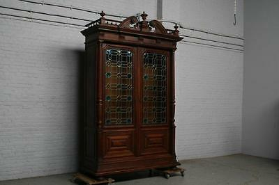 Beautiful Carved Walnut Stained Glass Antique French Bookcase - 14Be5251