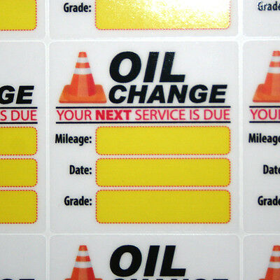 12 Generic Oil Change Service Reminder Stickers, High Quality Clear Static Cling