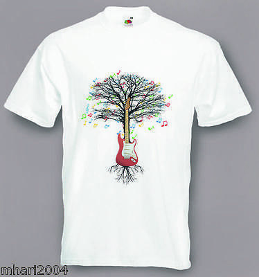 Electric Guitar T-shirt Musical Guitarist Tree  in sizes Small to XXL