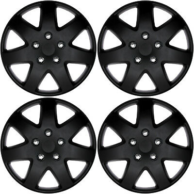4 Pc Set Of 16 Matte Black Hub Caps For Oem Steel Wheel Cover