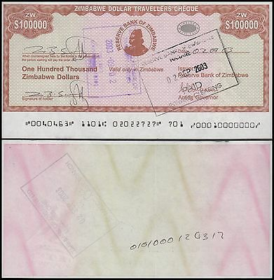 Zimbabwe 100,000 - 100000 Dollars Currency, 2003, P-20, Used, Travellers Cheque