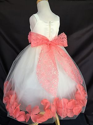 Flower Girl Bridesmaids Summer Elegant Floral Lace Toddler Girl Dress #015