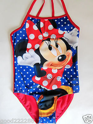 NEW Girls Disney Minnie Mouse One Piece Polka Dots Swimsuits Blue Red 3Y-7Y #GK