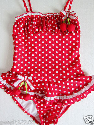 NWT Kate Mack Girls Cherry Polka Dots Tutu Skirted One Piece Swimsuits 2T-10 #GK