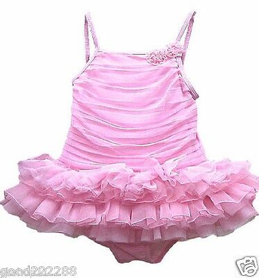 NWT Kate Mack Girls Ballerina Tutu Skirted One Piece Pink Swimsuits 2T-6X #GK