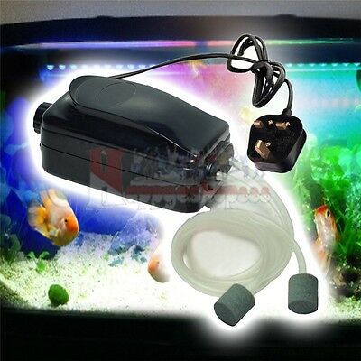 Aquarium Fish Tank Oxygen Air Pump Hydroponics 2 Outlets 4W Adjustable UK Plug