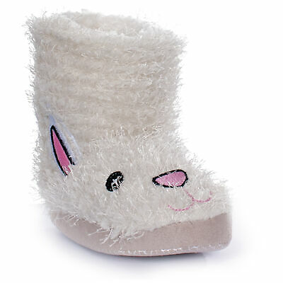 Trespass Kids Girls Faux Fur Fluffy Bunny Booty Slippers