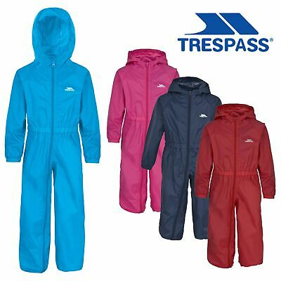 Trespass Button Babies Waterproof Breathable Rainsuit with Hood for Girls Boys