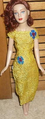 Longer Stretchy Gold Lurex Dress w/Blue Floral Accents for Tiny Kitty Doll