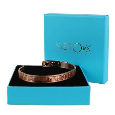 Mens Slim GREEK KEY Magnetic Copper Bracelet 6 Magnets