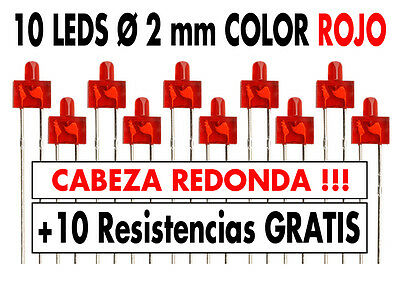 10 x Led Ø 2 mm difusor REDONDO color ROJO + resistencias + tutorial. NUEVOS !!