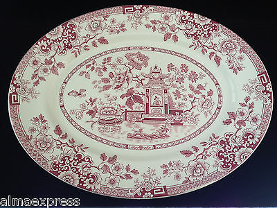 """Rare Myott Son & Co England China RED Indiana - 14-3/4"""" OVAL SERVING PLATTER"""