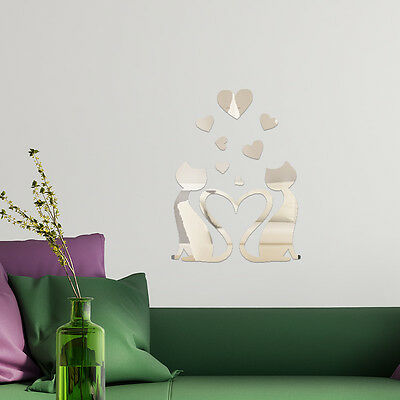 Mirror Home Wall Art Crystal Lovely Cat Decal Decoration Interior Reflection