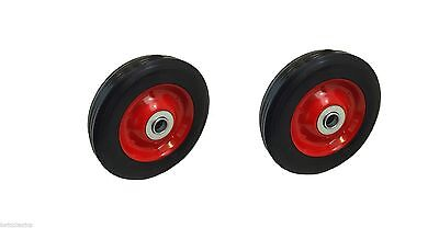 "Pack Of 2 - 6"" Rubber Trolley Sack Truck WHEELS Metal Centre 16mm Roller Bearing"
