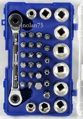 KOBALT 35 piece 1/4, 5/16 RIGHT ANGLE SOCKET BIT DRIVE DOUBLE END RATCHET WRENCH