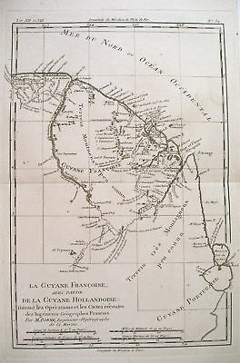 1780 Genuine Antique map of French Guiana by  Bonne
