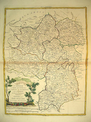 1776 Genuine Antique Hand Colored Map Central France. Elegant Cartouche. Zatta