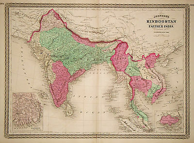 1867 Genuine Antique Hand Colored Map of Hindoostan & Farther India. Johnson
