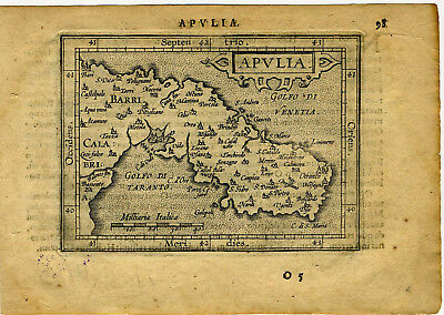 1609 Genuine Antique miniature map of southeastern Italy, Taranto. A. Ortelius
