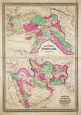 1867 Genuine Antique Maps Turkey in Asia & Persia, Arabia, Afghanistan. Johnson