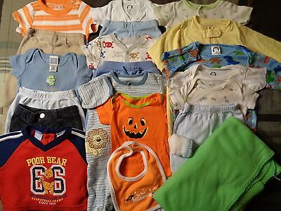 Lot of 21 pieces boys, various 0-3 months summer-spring clothing outfits