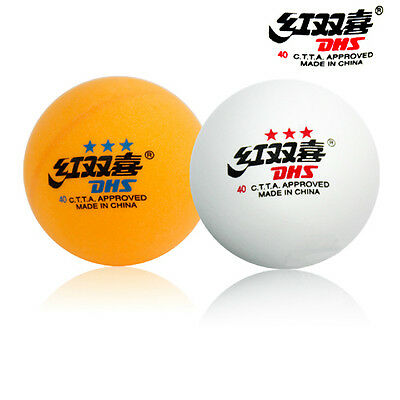 *WHITE*50PCS 40mm DHS DOUBLE HAPPINESS 3-STAR TABLE TENNIS  PING PONG BALLS