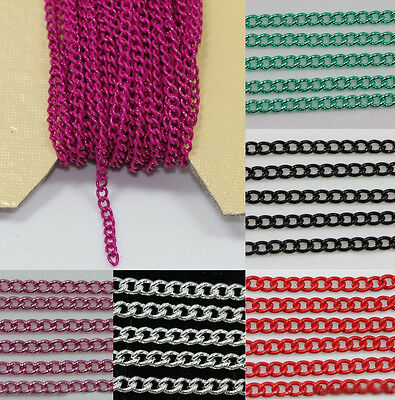 New 5/10M Electrophoresis Encryption Iron Chains Jewelry Findings 3x2mm 6Colors