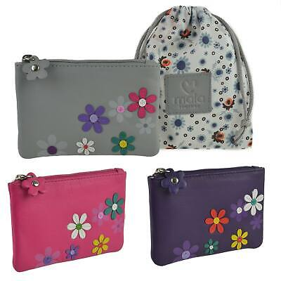 NEW Ladies LEATHER Compact Coin PURSE by MALA; Cara Collection 3D Flowers Handy