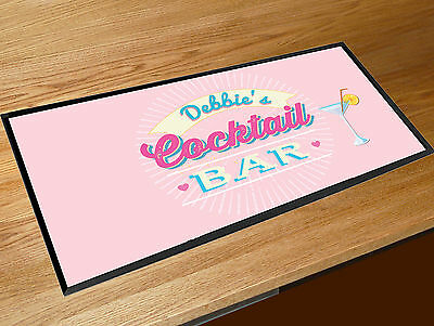 Personalised Any Name RETRO Cocktail Pink bar runner counter mat