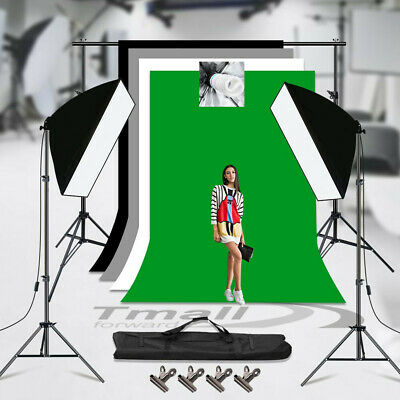 3x Photo Backdrop+Stand SET 1350W Photography Softbox Video Studio Lighting KIT