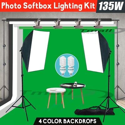 Pro.Photo Backdrop+Stand SET 1350W Photography Softbox Studio Lighting Video KIT