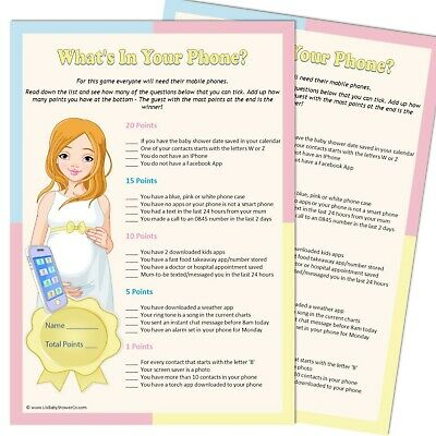 Whats In Your Phone? - Baby Shower Game 10/20 Party Players,Unisex Boy Girl mob