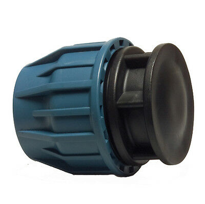 MDPE Plastic Compression Fitting End Cap For Water Pipe 20mm - 90mm 12 Bar WRAS