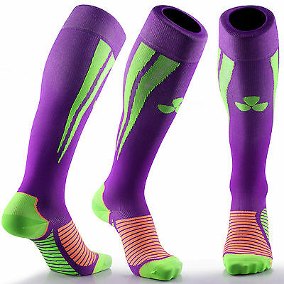 Samson® Compression Socks Purple Green Football Running Sport Gym Mens Womens