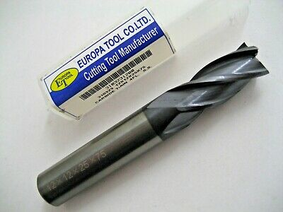 12mm SOLID CARBIDE 4 FLUTED TiALN COATED END MILL EUROPA TOOL 3103231200  #84