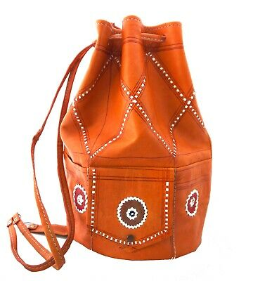 Vintage Style Moroccan Hand-made Genuine Leather Rucksack Backpack Tan and Brown