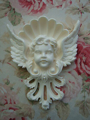 Large Cherub Head Wings Crown Architectural Onlay Pediment Applique