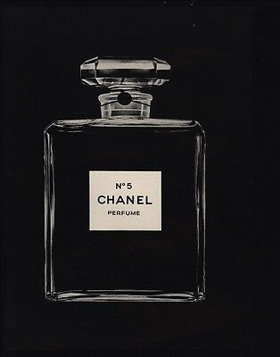 1975 CHANEL No 5 Perfume - Giant Black & White Bottle - VINTAGE ADVERTISEMENT
