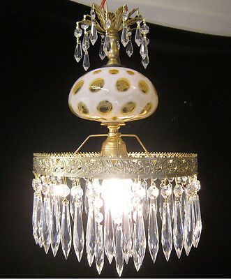 1of3 Crystal Vintage hanging  Lamp Ceiling Fenton Honeysuckle Glass brass Tole