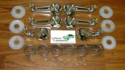 Vent + Window Crank Handles 24pc Kit 60-64 Washers/Springs/Clips chrome 61 62 63