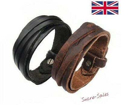 Men Women Unisex Surfer Genuine Leather Thong Braided Thin Bracelet Wristband UK