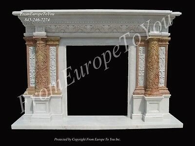 Beautiful All Hand Carved Marble Fireplace Mantel Mfp87