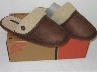 DOCKERS Men's Aviator Style Scuff. Brown winter slippers. Size XL.