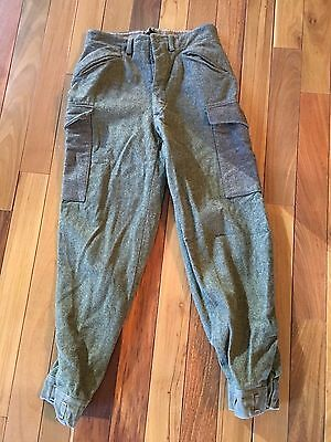 VTG Wool European Military Pants OD Field Heavy Cargo Green 30.5 x 30 Trousers